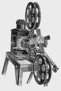 il Bioskop dei fratelli Skladanowski, si notino le due bobine di pellicola
