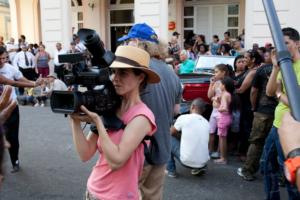 Un momento delle riprese di Havana Motor Club