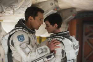 """This photo released by Paramount Pictures shows, Matthew McConaughey, left, and Anne Hathaway, in a scene from the film, '""""Interstellar,"""" from Paramount Pictures and Warner Brothers Pictures, in association with Legendary Pictures. (AP Photo/Paramount Pictures, Melinda Sue Gordon)"""