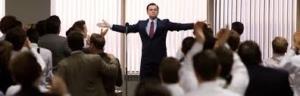 Leonardo DI Caprio in una scena di Wolf Of Wall Street