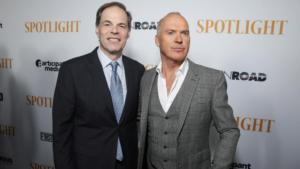 Tom Ortenberg e Michael Keaton all'anteprima di Spotlight